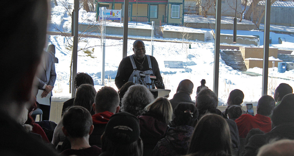 Artist Porter Williams speaks at the dedication ceremony for the Martin Luther King Jr. statue in Sioux Falls.