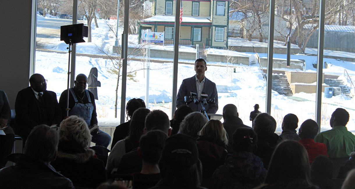 Mayor Paul TenHaken speaks at the dedication of the Martin Luther King Jr. statue in Sioux Falls.