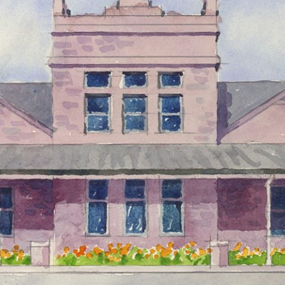 A watercolor painting of the Depot at Cherapa Place, the home for the Sioux Falls Area Community Foundation