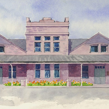 a watercolor painting of the Depot at Cherapa Place.