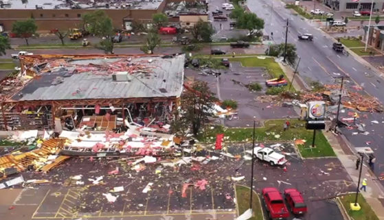 Damage from a tornado in Sioux Falls on Sept. 10, 2019.