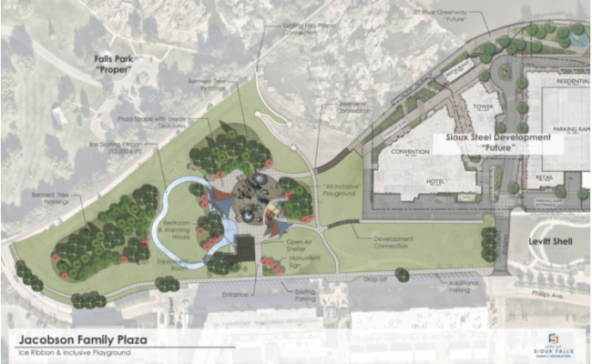 Rendering of Jacobson Family Plaza