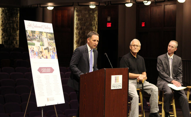 A news conference for the Arts Endowment Challenge