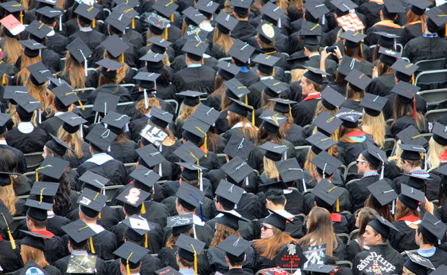 Graduates in their caps and gowns.