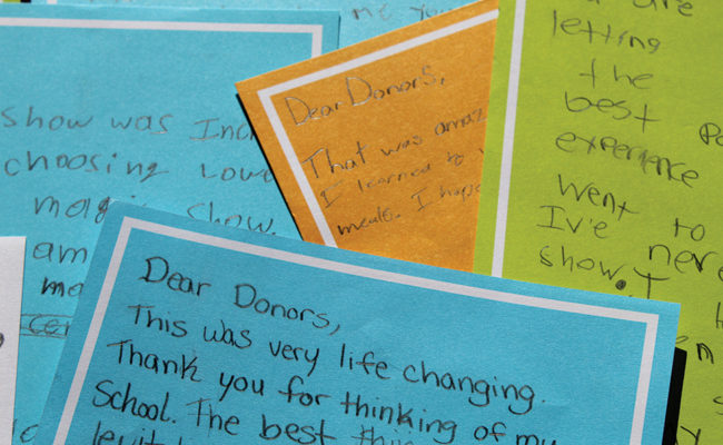 thank you notes from students to donors